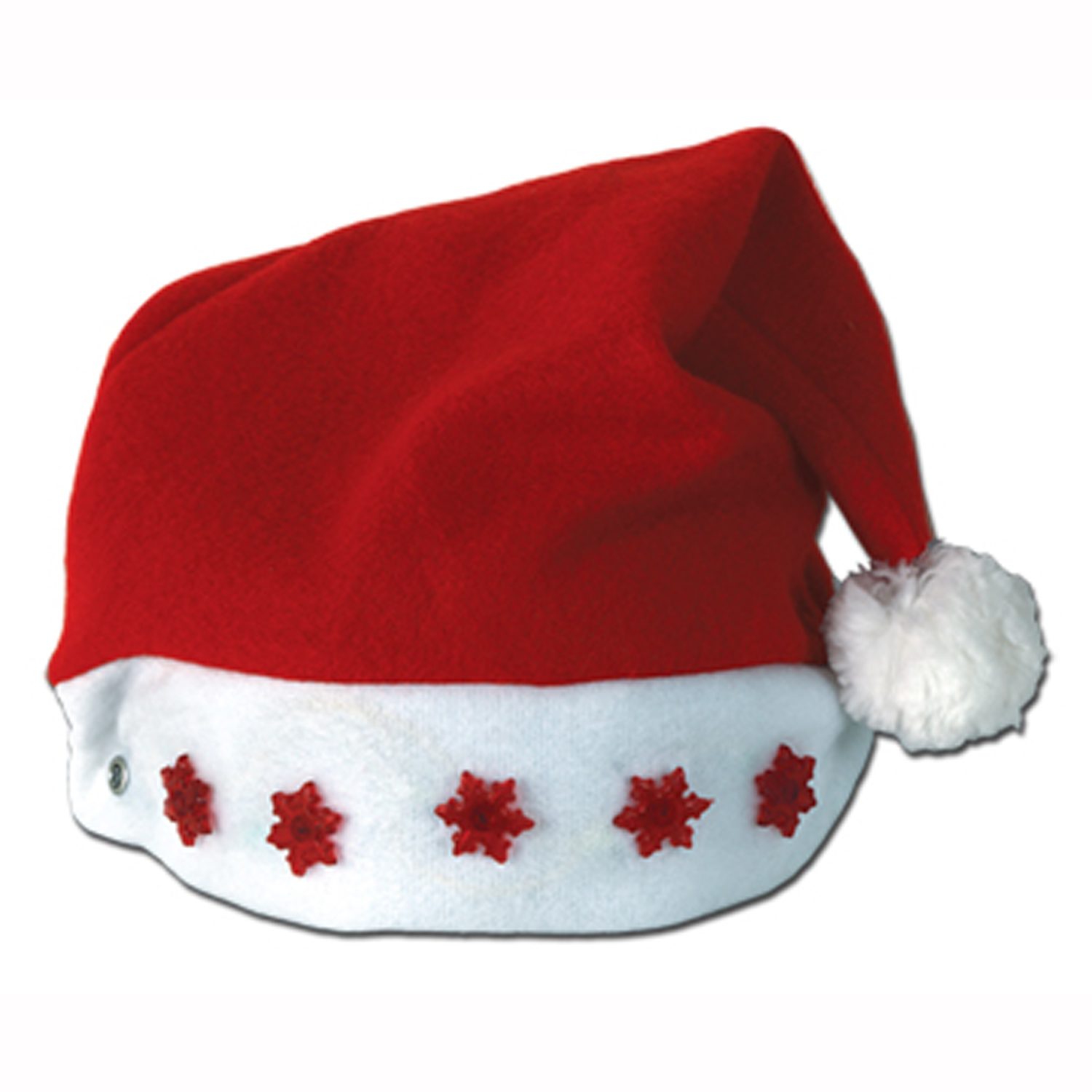 f675a3792e545 Details about Santa LIGHT-UP RED SNOW-FLAKE Santa Hat - Christmas Holiday  Blinking Party Cap