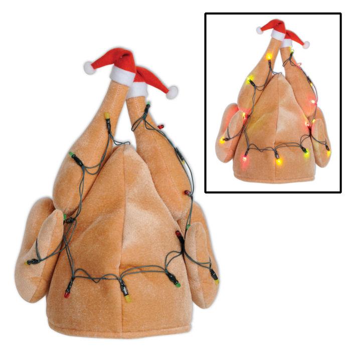 b07e53d33e Santa TURKEY HAT w  Christmas Lights - Funny Light-up Holiday Xmas ...